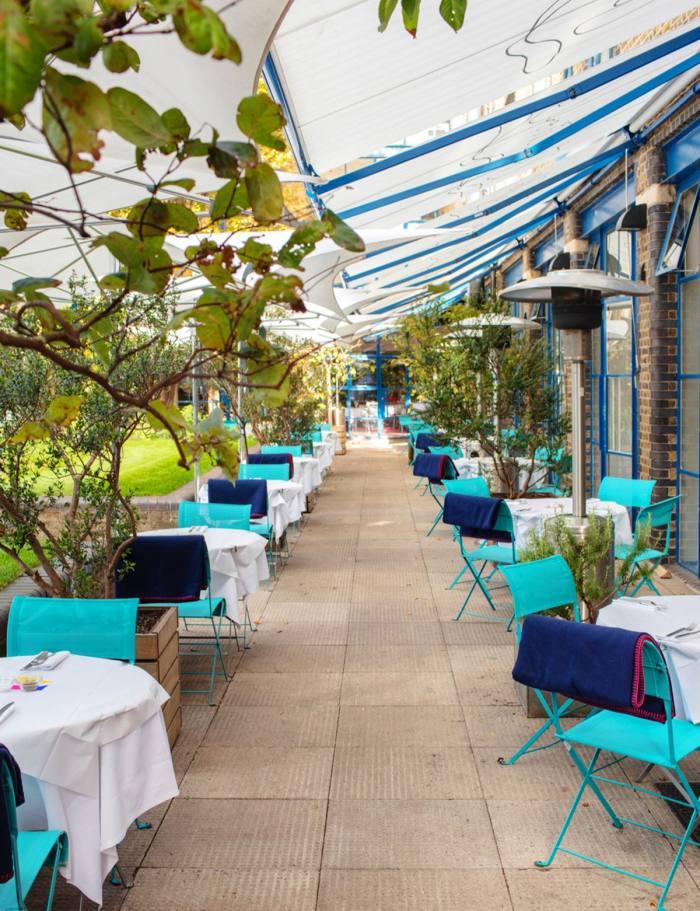 The alfresco terrace at River Café Thames Wharf