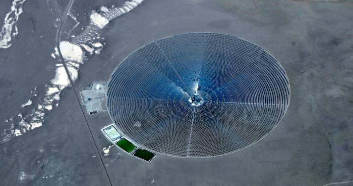 The Crescent Dunes Solar Energy Project located in Nevada. Mr Biden has pledged to install'tens of thousands of wind turbines' and 'millions of solar panels'