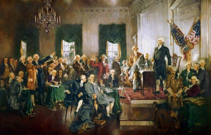 'Scene at the Signing of the Constitution of the United States' painted by Howard Chandler Christy in 1940