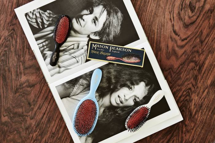 Mason Pearson hairbrushes, from about £85, on top of one of  Mahony's favourite photography books, 5x7 by William Eggleston