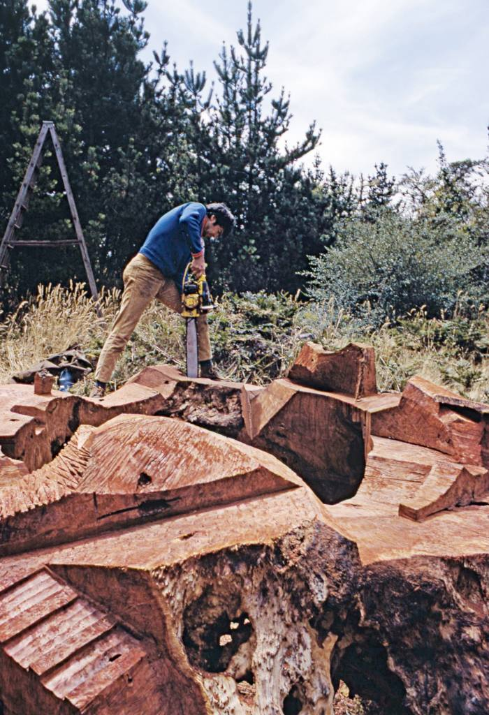 JB Blunk at work on his redwood installation The Planet, 1968
