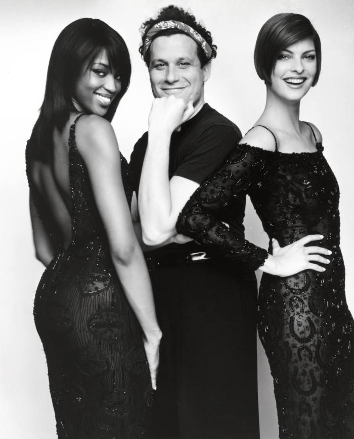 Isaac Mizrahi with Naomi Campbell and Linda Evangelista in his 1995fashion documentary 'Unzipped'