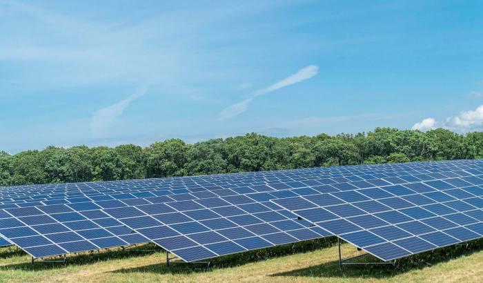 A solar photovoltaic power plant farm installation in New York