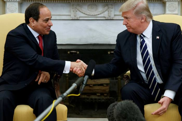 Egypt's president Abdel Fattah al-Sisi, left, and his US counterpart Donald Trump in the Oval Office of the White House, in Washington, in April 2017