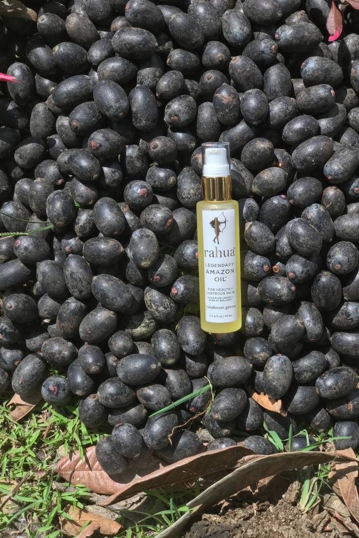 Amazonian communities gather and prepare the ingredients in Rahua's haircare range, which includes its Legendary Amazon Oil, £41