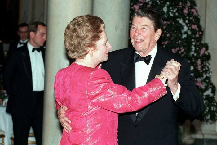 Margaret Thatcher and Ronald Reagan dance during the final state dinner of his presidency at the White House in 1988