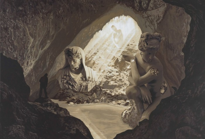 Cave with crouching Venus, 2021, one of the paintings in the exhibition König Galerie