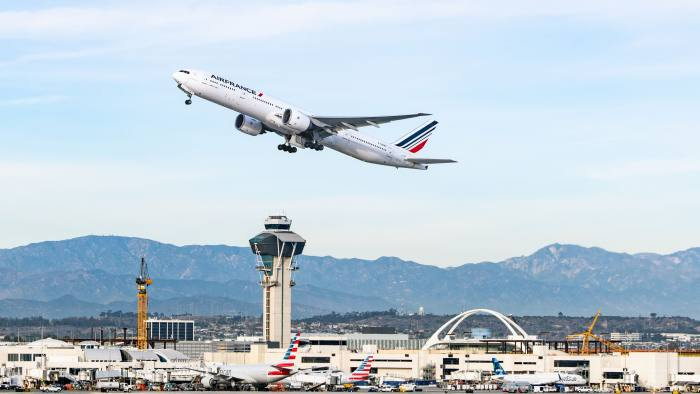Air France Boeing 777-328ER takes off from Los Angeles international Airport