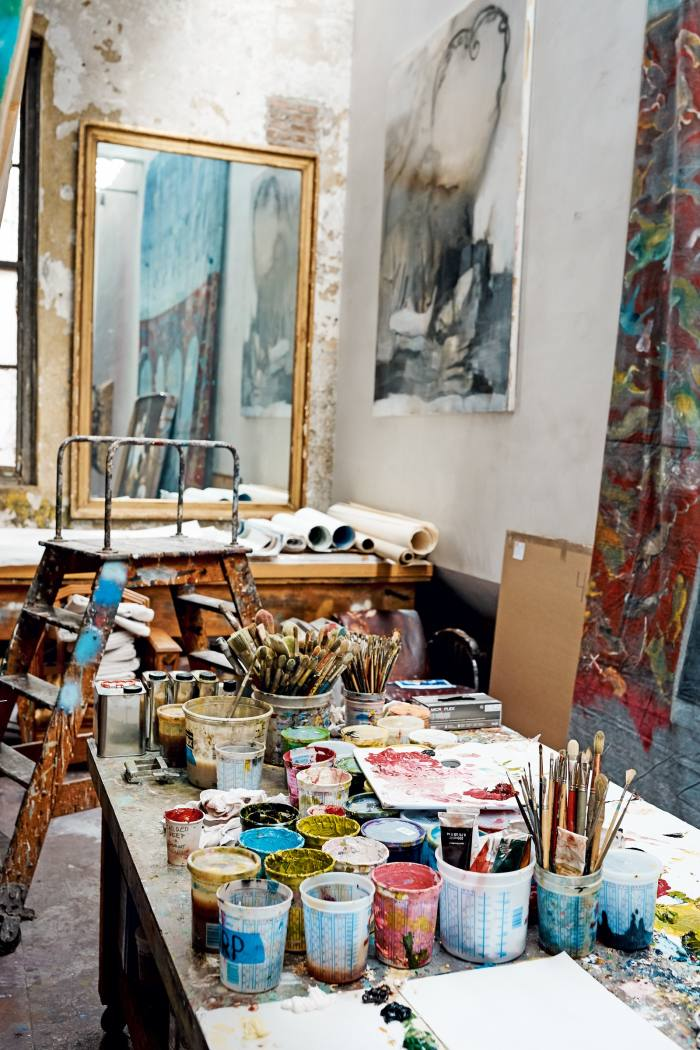 Inside Schnabel's studio