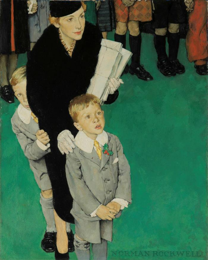 An Audience of One' (1938), one of two Norman Rockwell paintings owned by TV producers Thomas Miller and Robert Boyett, on offer through Phillips New York in December