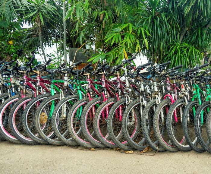 Bikes at a hire shop in Pulau Ubin