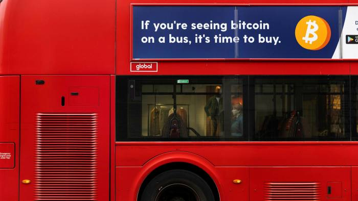 Advert for Bitcoin on a bus in London