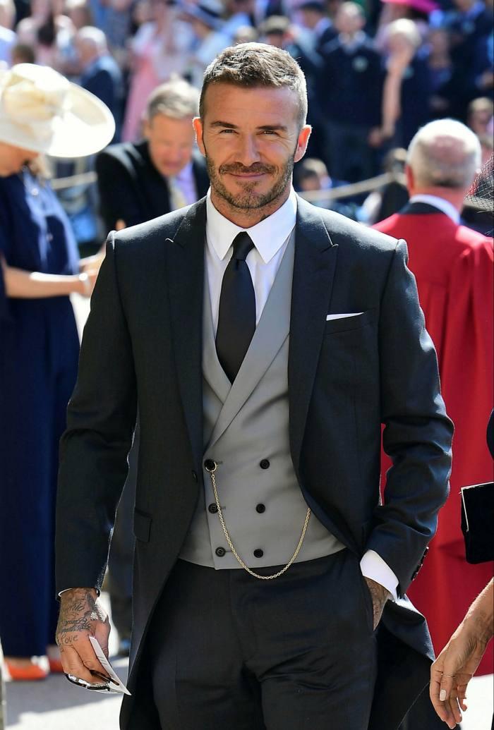 David Beckham porte un costume du matin pour le mariage du prince Harry et de Meghan Markle en mai 2018