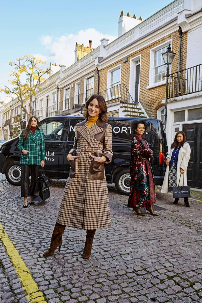 Alison Loehnis (second from left), president of Net-a-Porter and Mr Porter, and (left to right) Net-a-Porter senior personal shoppers Irina, Alli and Kunduz. Irina wears Saint Laurent wool blazer, £2,195. The Row cashmere-silk sweater, £1,180. Anine Bing leather pants, £790. Manolo Blahnik satin pumps, £795. Alison wears Gucci leather and wool-blend trench coat, £4,900. Gabriela Hearst cashmere-silk sweater, £495. Saint Laurent suede boots, £1,230. Alli wears Dries van Noten velvet coat, £1,565. Proenza Schouler leather shirtdress, £1,985. Michael Kors Collection cashmere sweater, £450. Jimmy Choo leather boots, £1,175. Jennifer Fisher gold-plated hoop earrings, £270. Kunduz wears Co cotton-twill coat, £1,295. Gucci intarsia wool cardigan, £850. Miu Miu wool-blend midi skirt, £915. Prada stretch-knit boots, £890. All available at net-a-porter.com