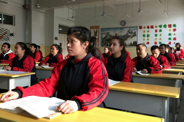 A Chinese lesson during a government organised visit in Kashgar, Xinjiang Uighur Autonomous Region, China, last year