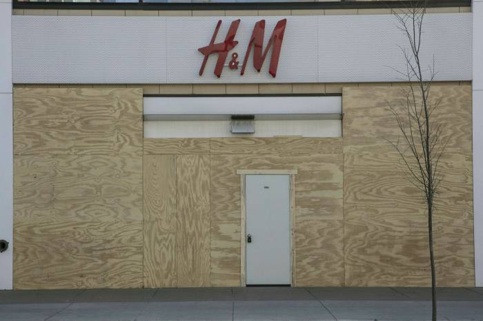Boarded up H&M store in Minneapolis, Minnesota, US, in April 2020