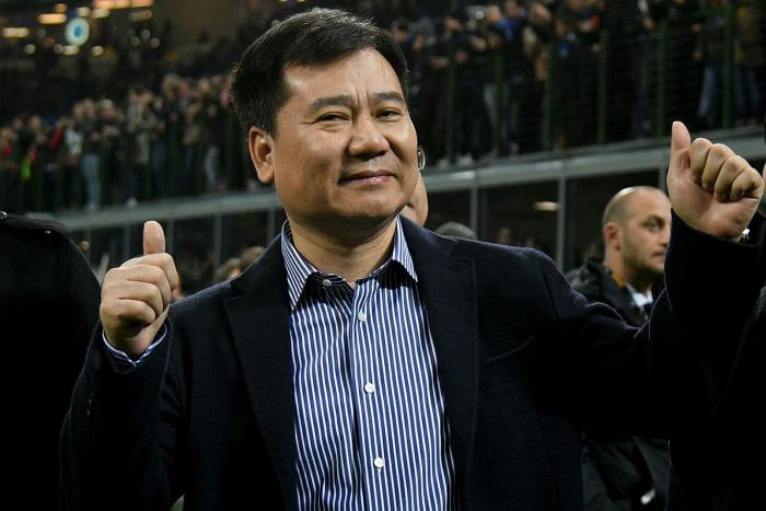 Zhang Jindong at a Serie A match between Inter Milan and AS Roma in 2017