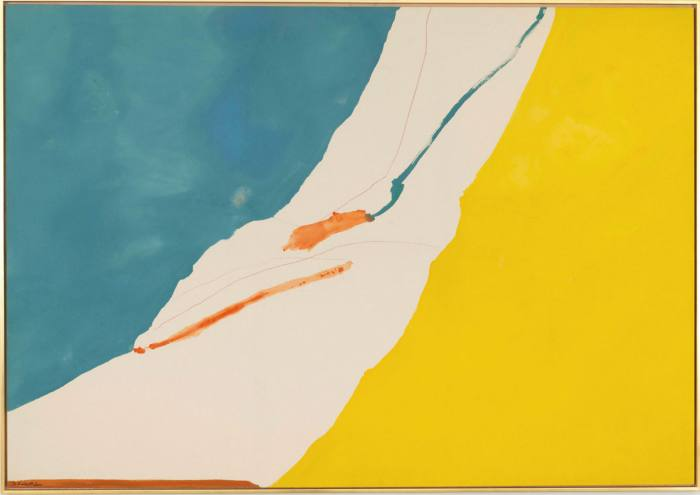 A painting with vertical blue and yellow halves between which a white appears to have been torn