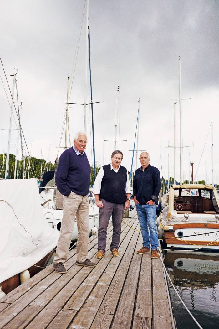 Tom andMatthew Richardson with boat designer Nigel Irens (middle)