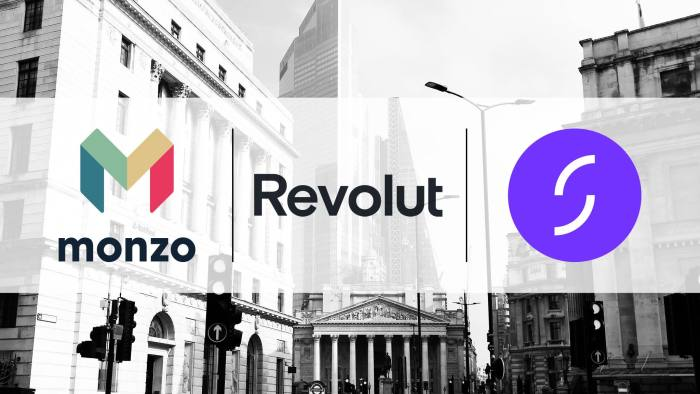 Montage of Monzo, Revolut and Starling logos