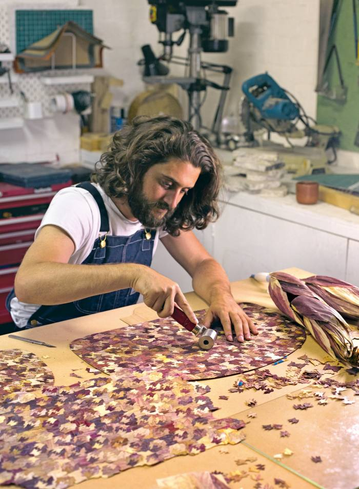 London-based Mexican designer Fernando Laposse making marquetry from Totomoxtle, which he created in 2016