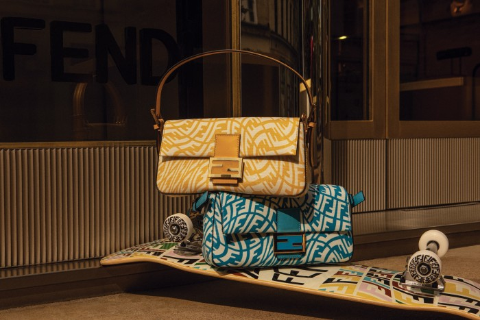 Fendi leather Baguette 1997 bags, £2,100 each, and skateboard, £980, from the Summer Capsule 2021 FF Vertigo collection