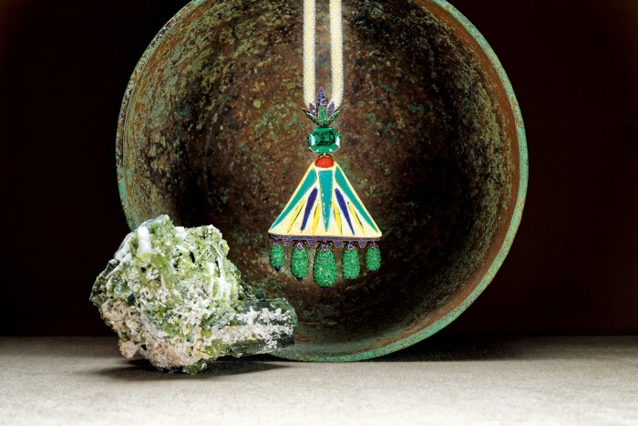 Hemmerle white-gold, emerald, sapphire, bronze, agate-bead and ancient-Egyptian-faience necklace, POA