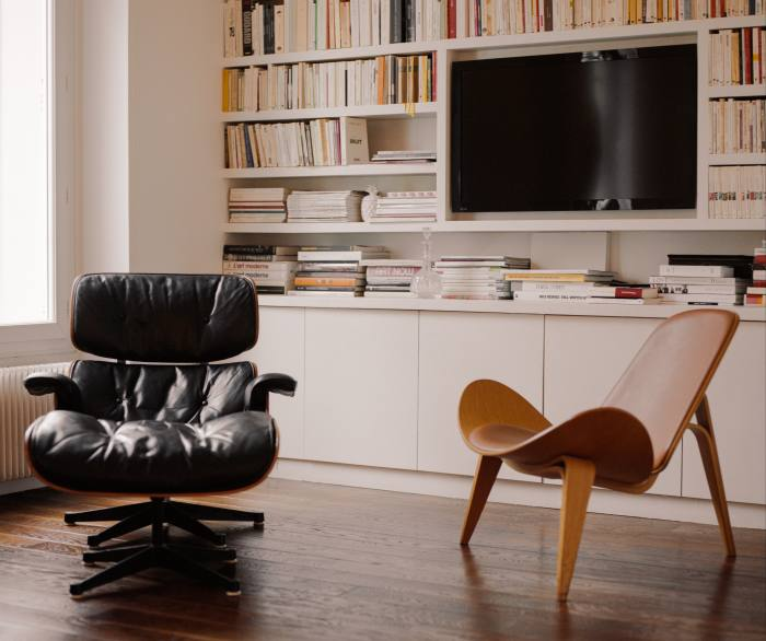 From left: Gabard's 1977 Charles Eames lounge chair by Mobiler International and Hans Wegner CH07 chair by Carl Hansen