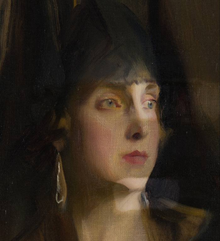 A portrait of Queen Victoria Eugenia of Spain by Philip de László (1869-1937), in process of restoration