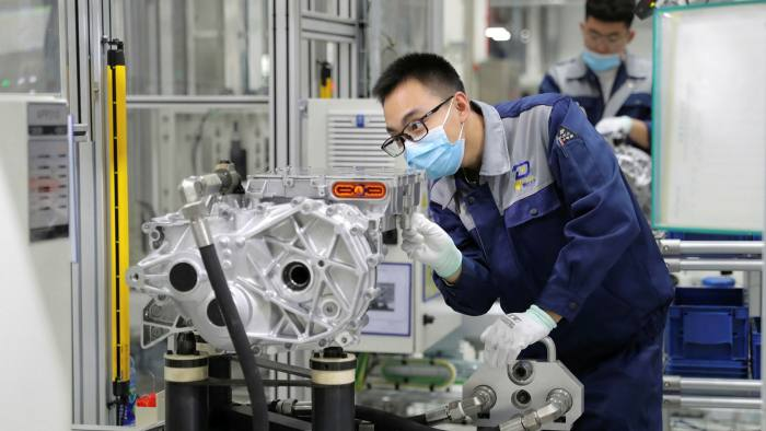 Going electric: production line of an electric drive at Volkswagen Automatic Transmission (Tianjin) in China