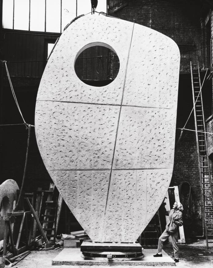 Hepworth with the plaster for her monumental piece Single Form, 1963