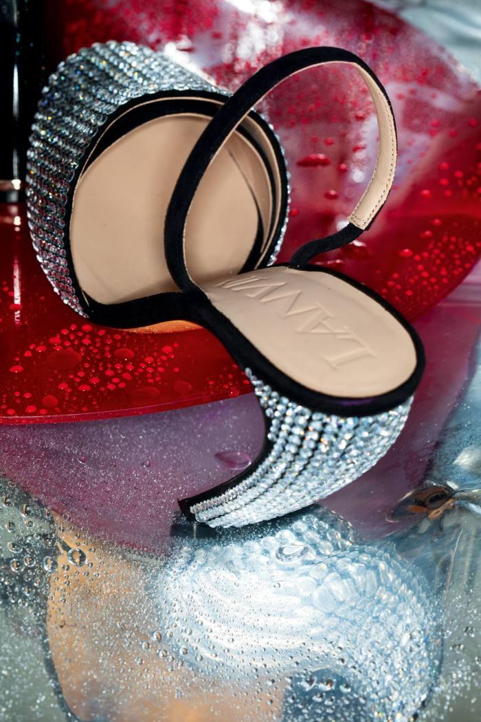 Lanvin leather and rhinestone J sandals, £755