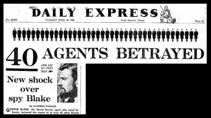 A Daily Express front page from 1961, when the extent of the damage done by Blake's betrayal was becoming clear