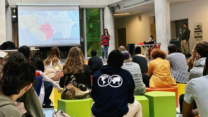 A class at UWC Dilijan College discusses the conflict in Nagorno-Karabakh