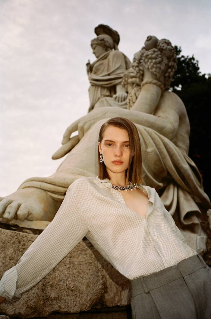 Dior silk shirt, £1,503 and wool trousers, £1,093. Bulgari Barocko High Jewellery white gold, onyx, pearls and diamond Hypnotic Pearls' earrings, matching necklace and bracelet, all POA