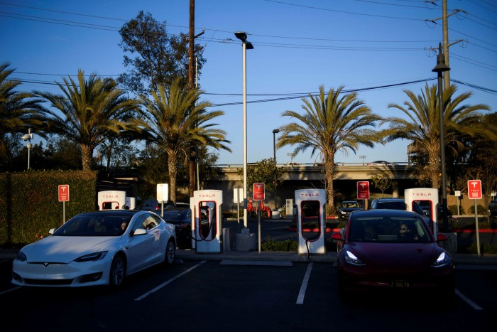 A Tesla supercharger station. Los Angeles has more electric vehicle charging points than any other city in the US