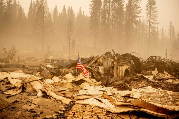 The remains of a fire station in Greenville, California. The Dixie Fire has destroyed about 500,00 acres in four counties