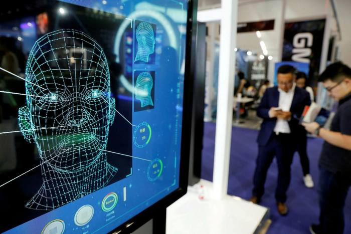 Facial recognition software on display at a mobile internet conference in Beijing
