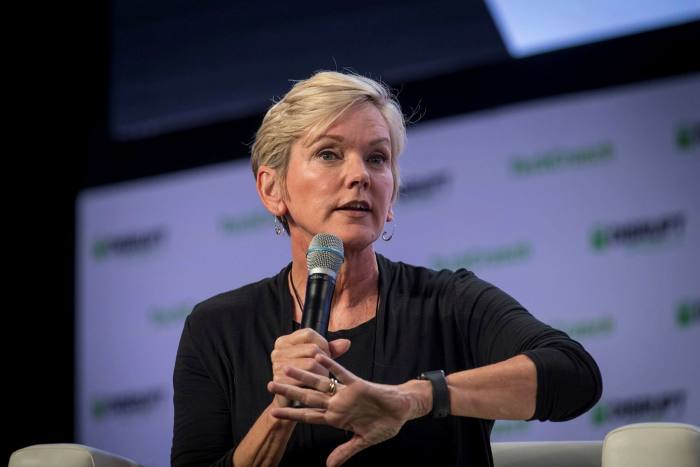 Jennifer Granholm, former governor of Michigan, speaks during TechCrunch Disrupt 2019 in San Francisco