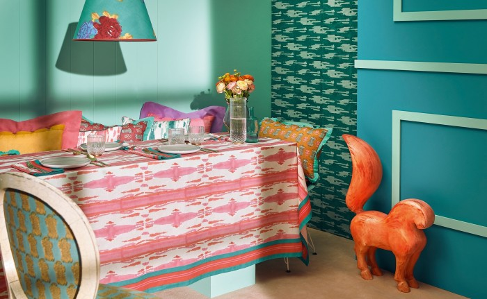 Lisa Corti's Flame collection references Mallorcan textiles in three intense colours (from €22 for aplacemat)