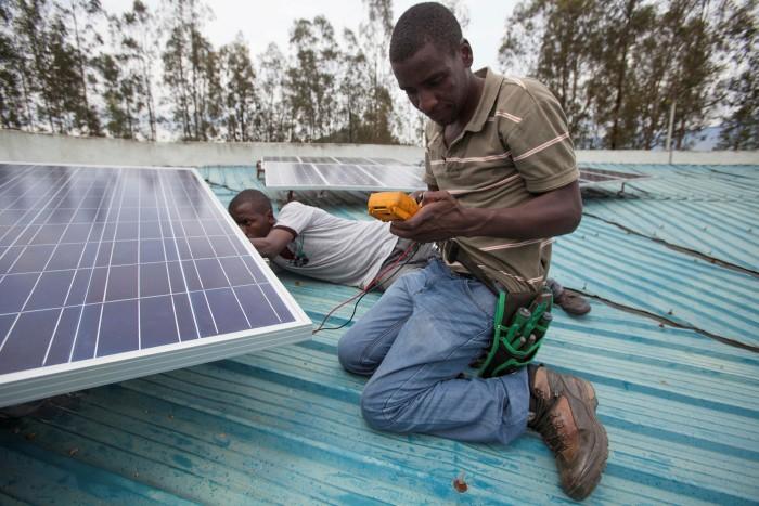 Solar panel installation in Rwanda