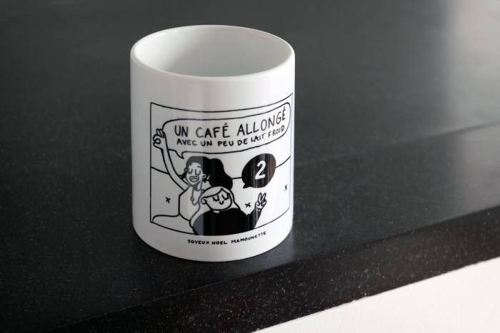 Her mug featuring a drawing by her daughter