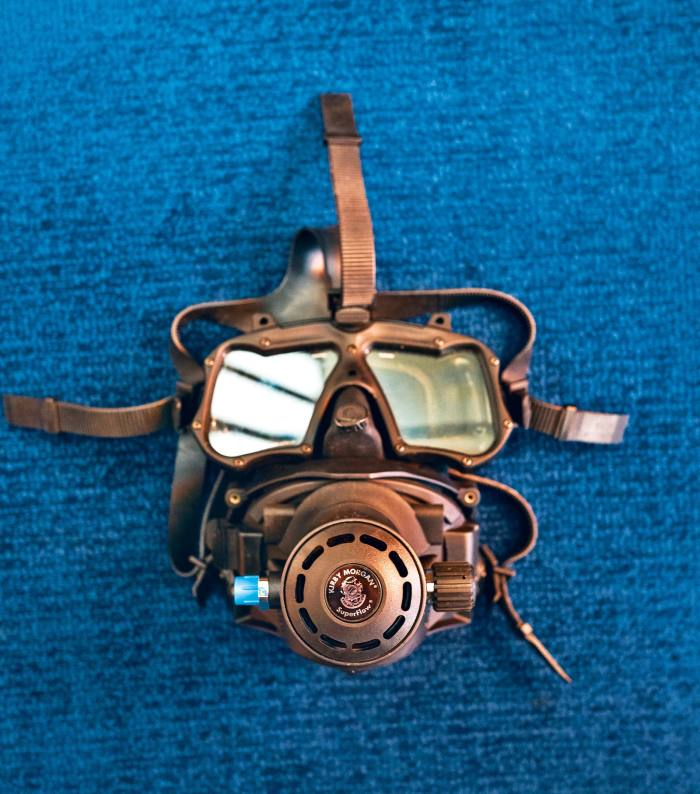 A Kirby Morgan scuba mask used by Cousteau on his Mission 31 expedition in 2014, where he spent 31 days underwater off the Florida Keys