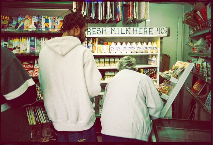 Method Man of the Wu-Tang Clan buying milk from a newsagent in Earl's Court