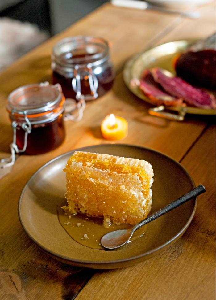 English wildflower honeycomb, from £9, with redcurrant and blackcurrant preserves