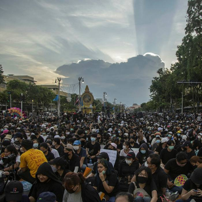Students and anti-government protesters demonstrate at Democracy Monument in Bangkok on August 16