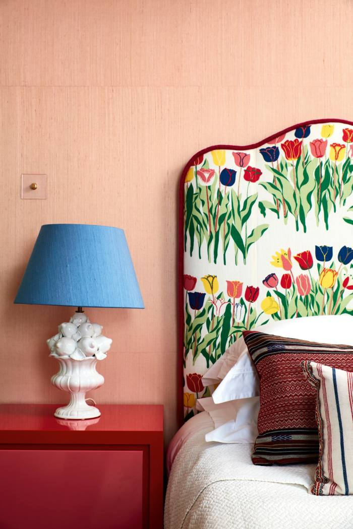 Josef Frank fabric on the headboard in her bedroom