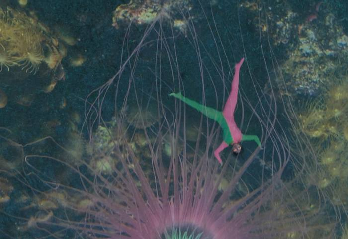 A person in a green and pink bodysuit has their limbs outspread in what looks like the bottom of the sea