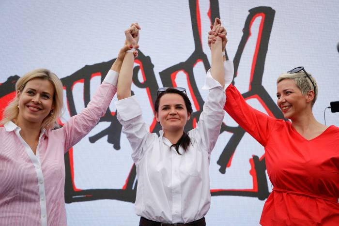 The Power Rangers: from left, Veronika Tsepkalo, Svetlana Tikhanovskaya and Maria Kolesnikova