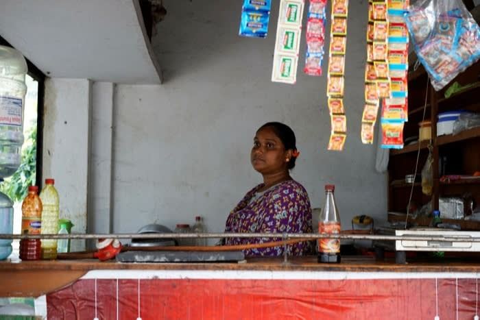 Shikha Das, who runs a tea stand with her husband, worries about a new wave of coronavirus © Benjamin Parkin / FT